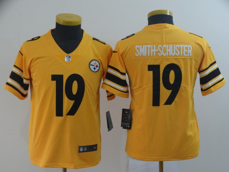 Nike Steelers 19 JuJu Smith-Schuster Gold Youth Inverted Legend Limited Jersey