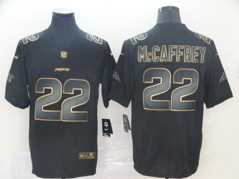 Nike Panthers 22 Christian McCaffrey Black Gold Vapor Untouchable Limited Jersey