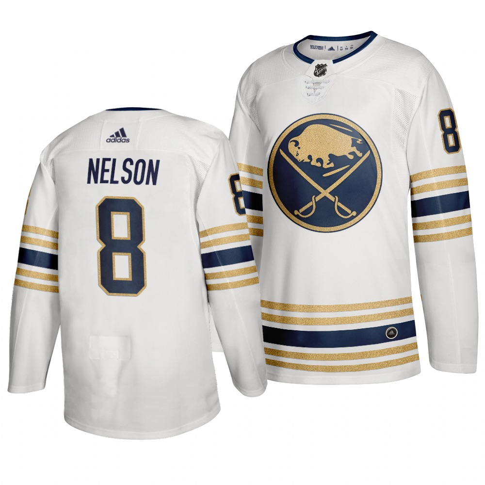 Sabres 8 Casey Nelson White 50th anniversary Adidas Jersey