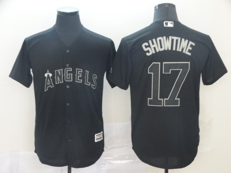 "Angels 17 Shohei Ohtani ""Showtime"" Black 2019 Players' Weekend Player Jersey"