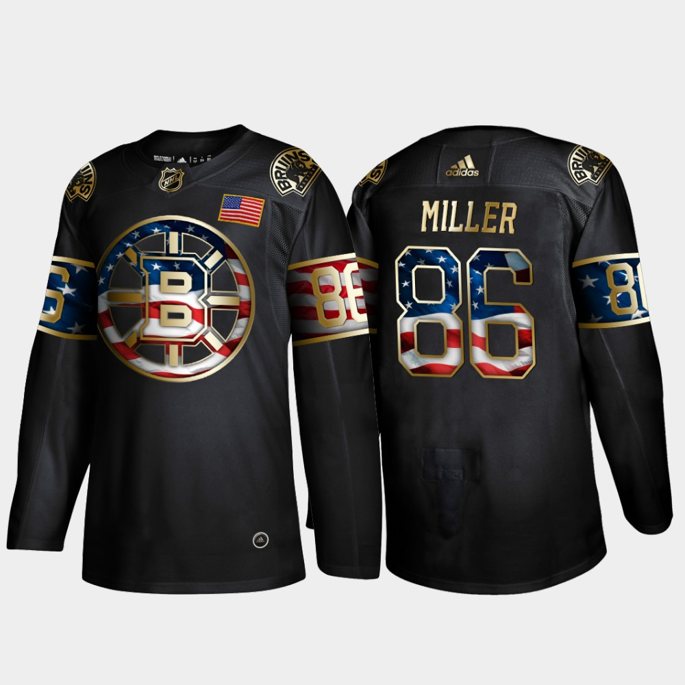 Bruins 86 Kevan Miller Black Gold USA Flag Adidas Jersey