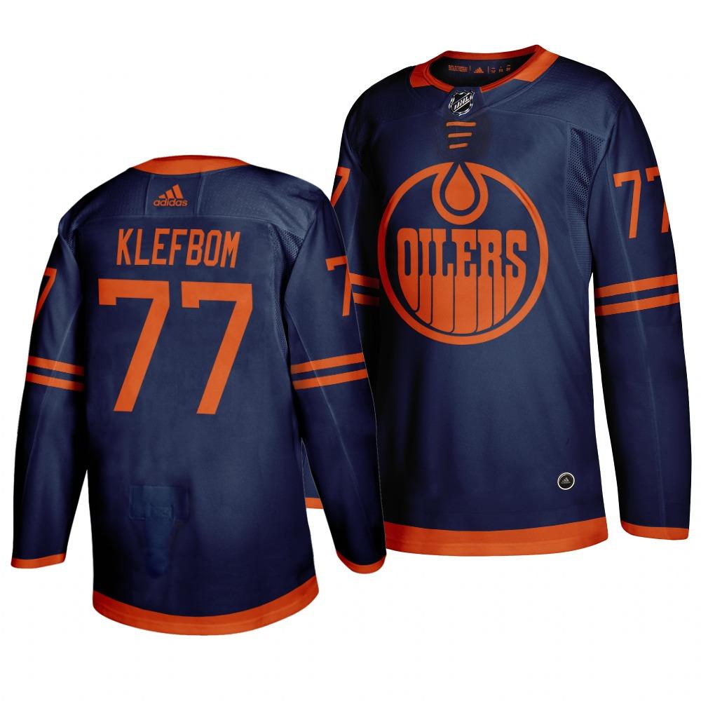 Oilers 77 Oscar Klefbom Navy 50th anniversary Adidas Jersey