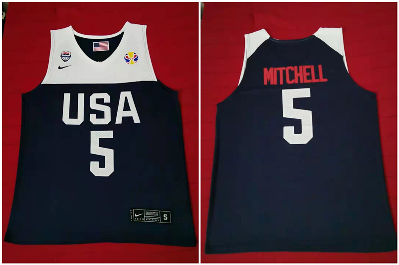 Team USA 5 Mitchell Navy 2016 Olympics Basketball Swingman Jersey