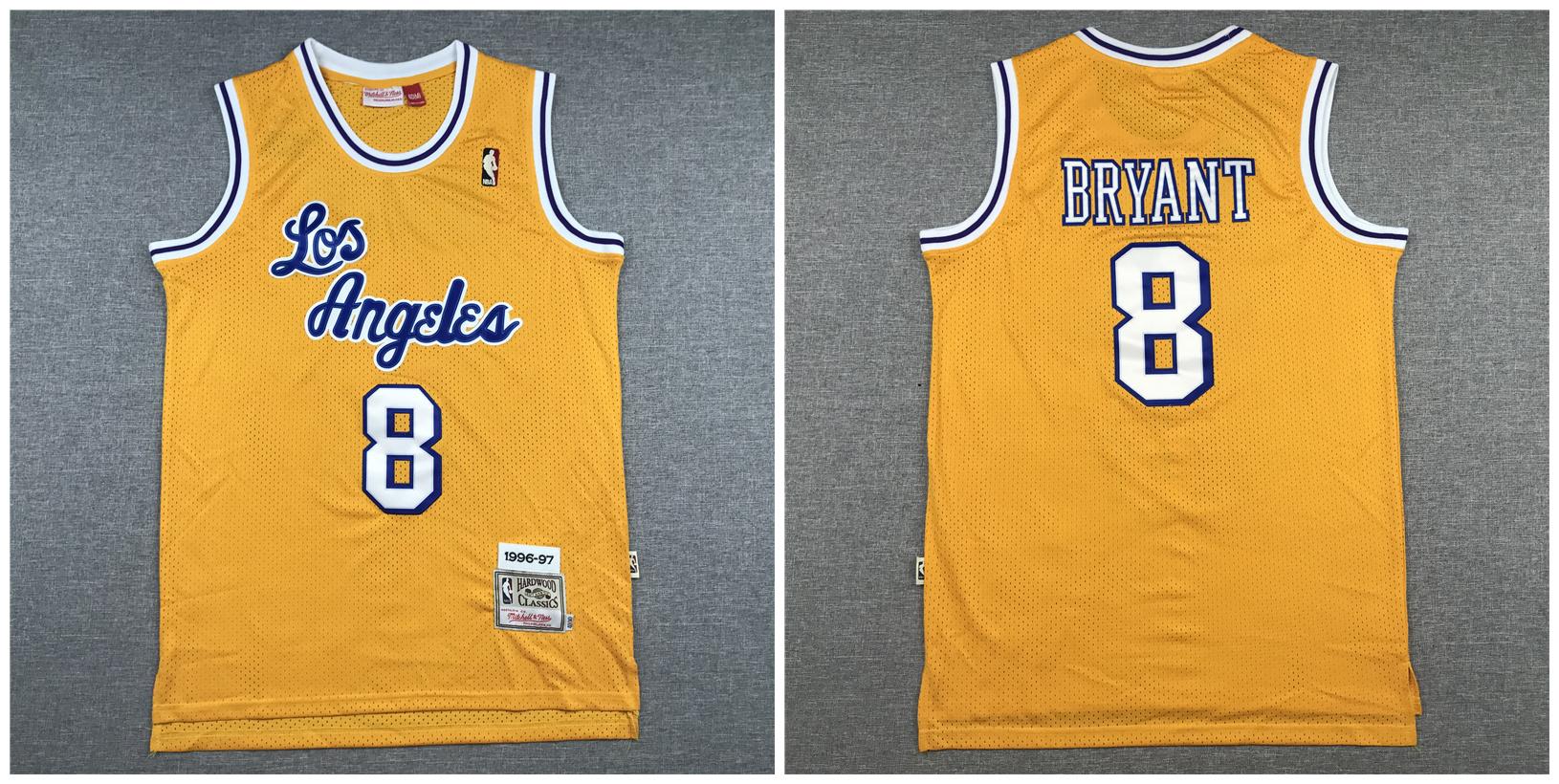 Lakers 8 Kobe Bryant Yellow 1996-97 Hardwood Classics Swingman Jersey