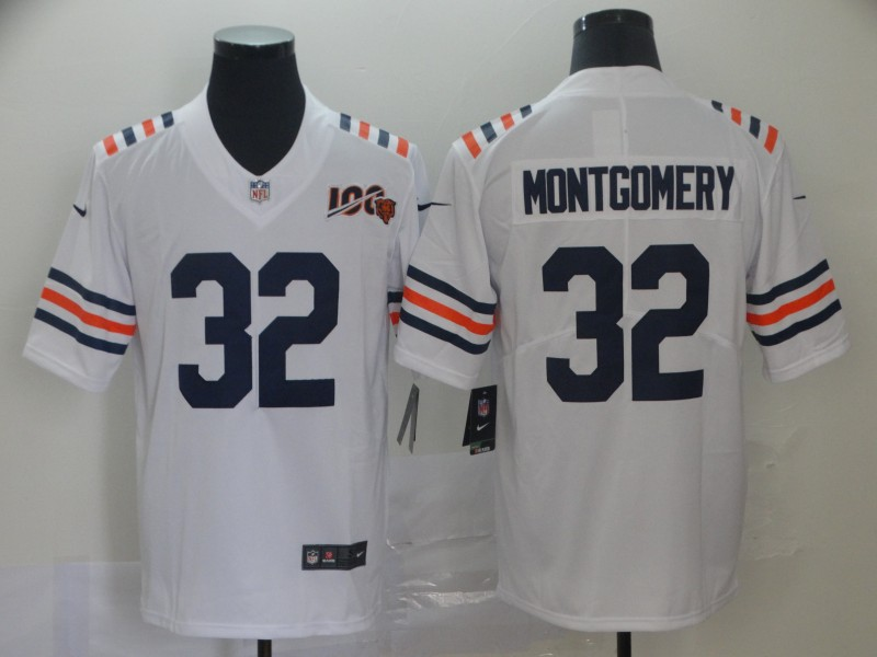 Nike Bears 32 David Montgomery White 2019 100th Season Alternate Classic Vapor Untouchable Limited Jersey