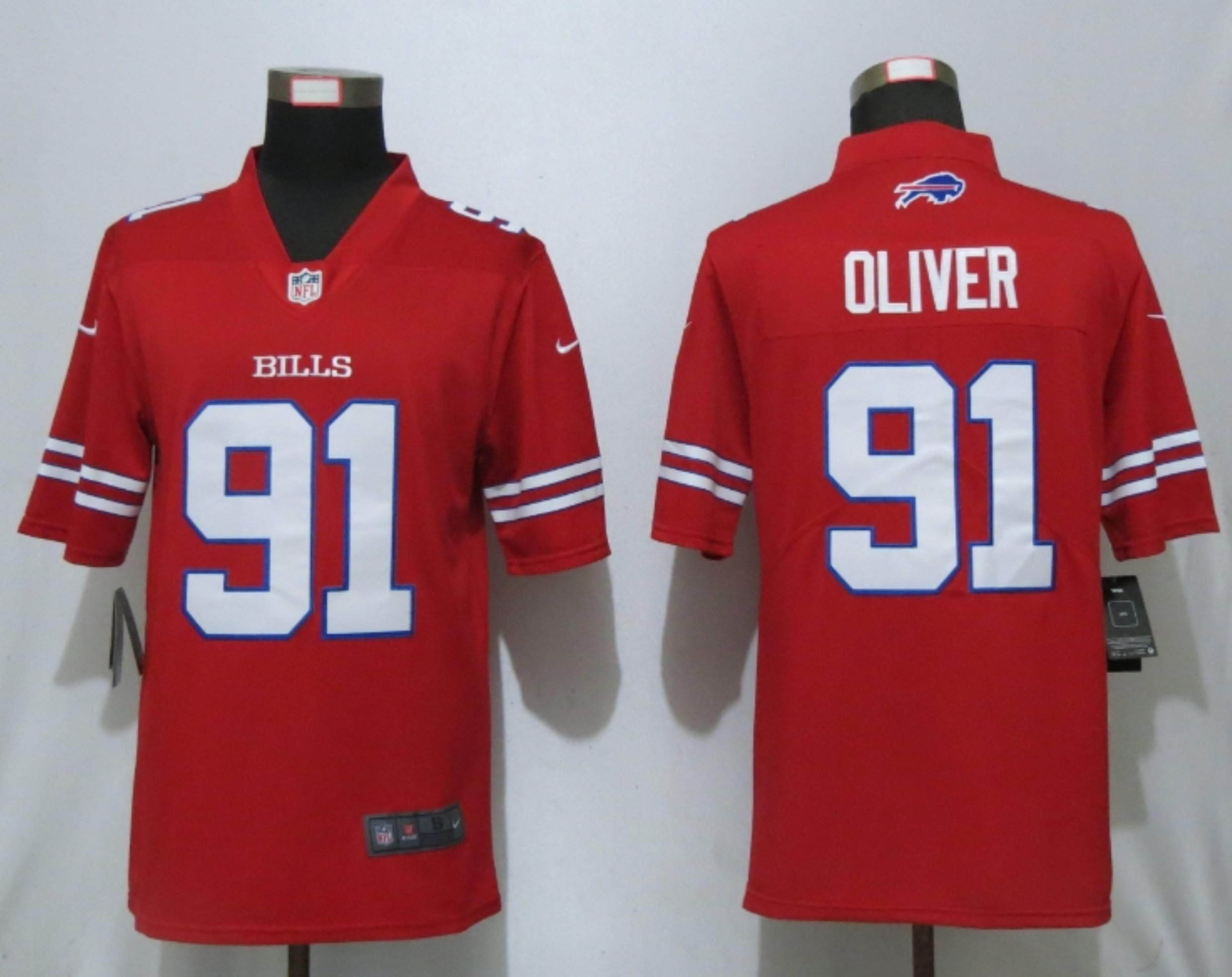 Nike Bills 91 Ed Oliver Red Color Rush Limited Jersey