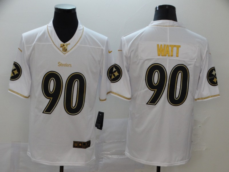 Nike Steelers 90 T.J. Watt White Gold Vapor Untouchable Limited Jersey