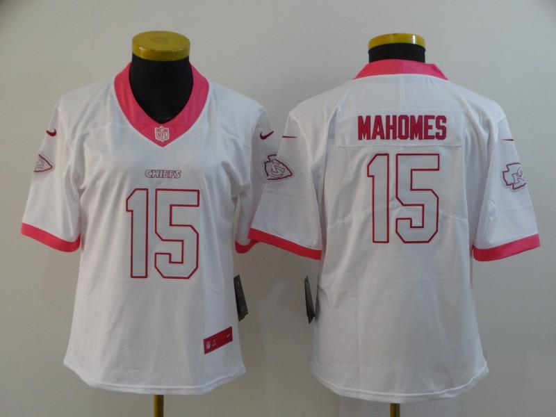 Nike Chiefs 15 Patrick Mahomes White Pink Women Vapor Untouchable Limited Jersey