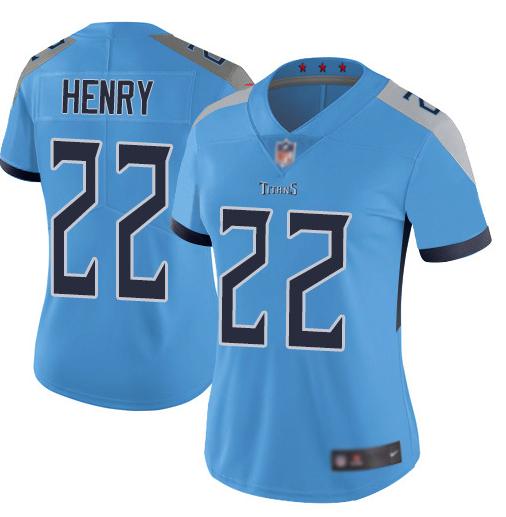 Nike Titans 22 Derrick Henry Blue Women New Vapor Untouchable Player Limited Jersey