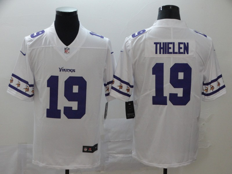Nike Vikings 19 Adam Thielen White Team Logos Fashion Vapor Limited Jersey