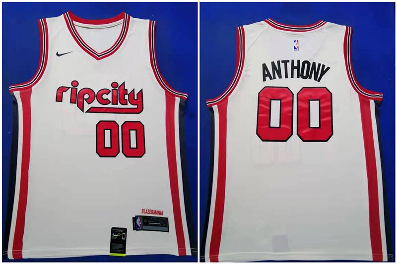 Blazers 00 Carmelo Anthony White Red 2019-20 Nike Swingman Jersey