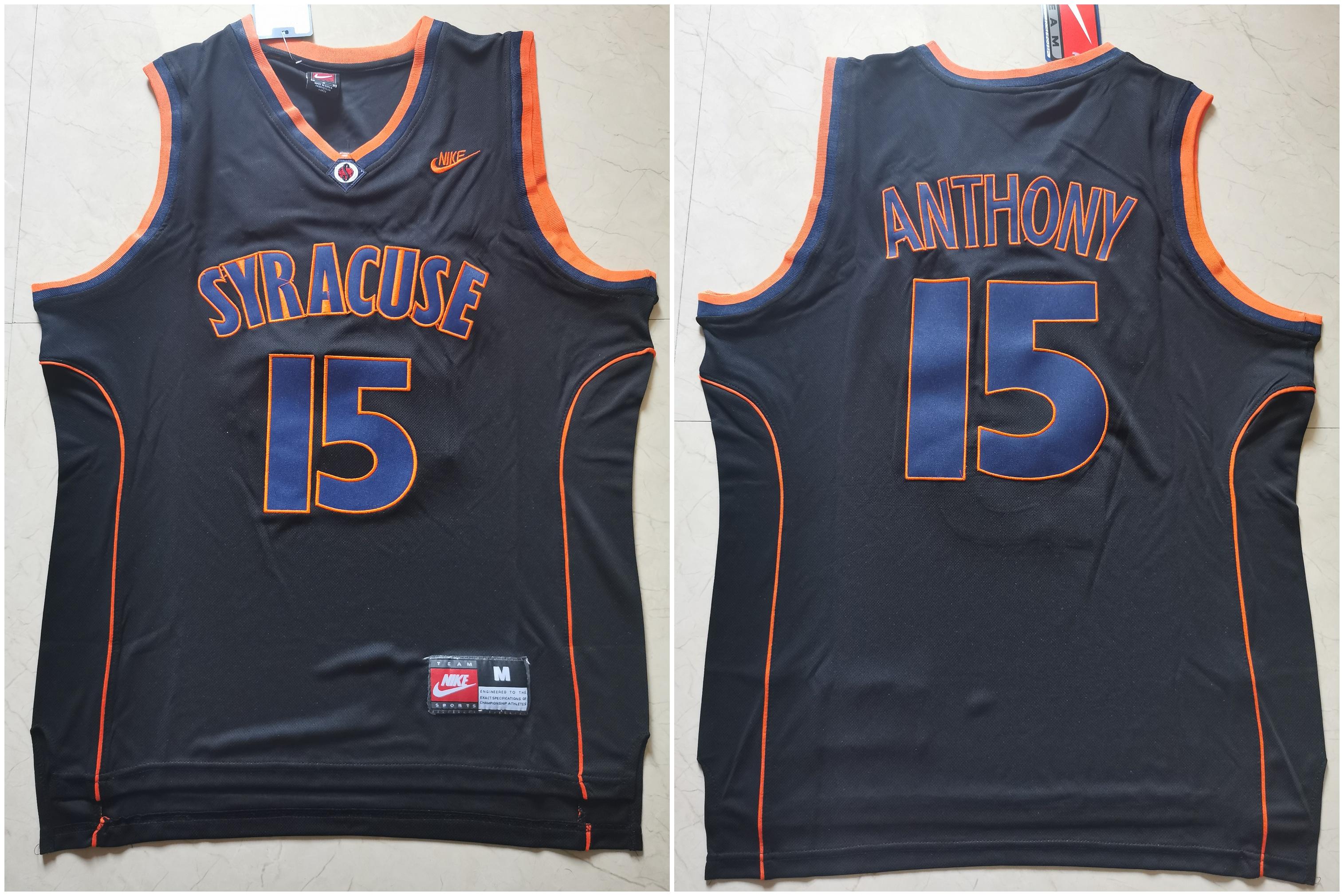 Syracuse University 15 Carmelo Anthony Black Nike Basketball College Jersey