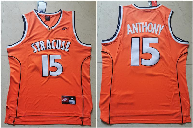 Syracuse University 15 Carmelo Anthony Orange Nike Basketball College Jersey