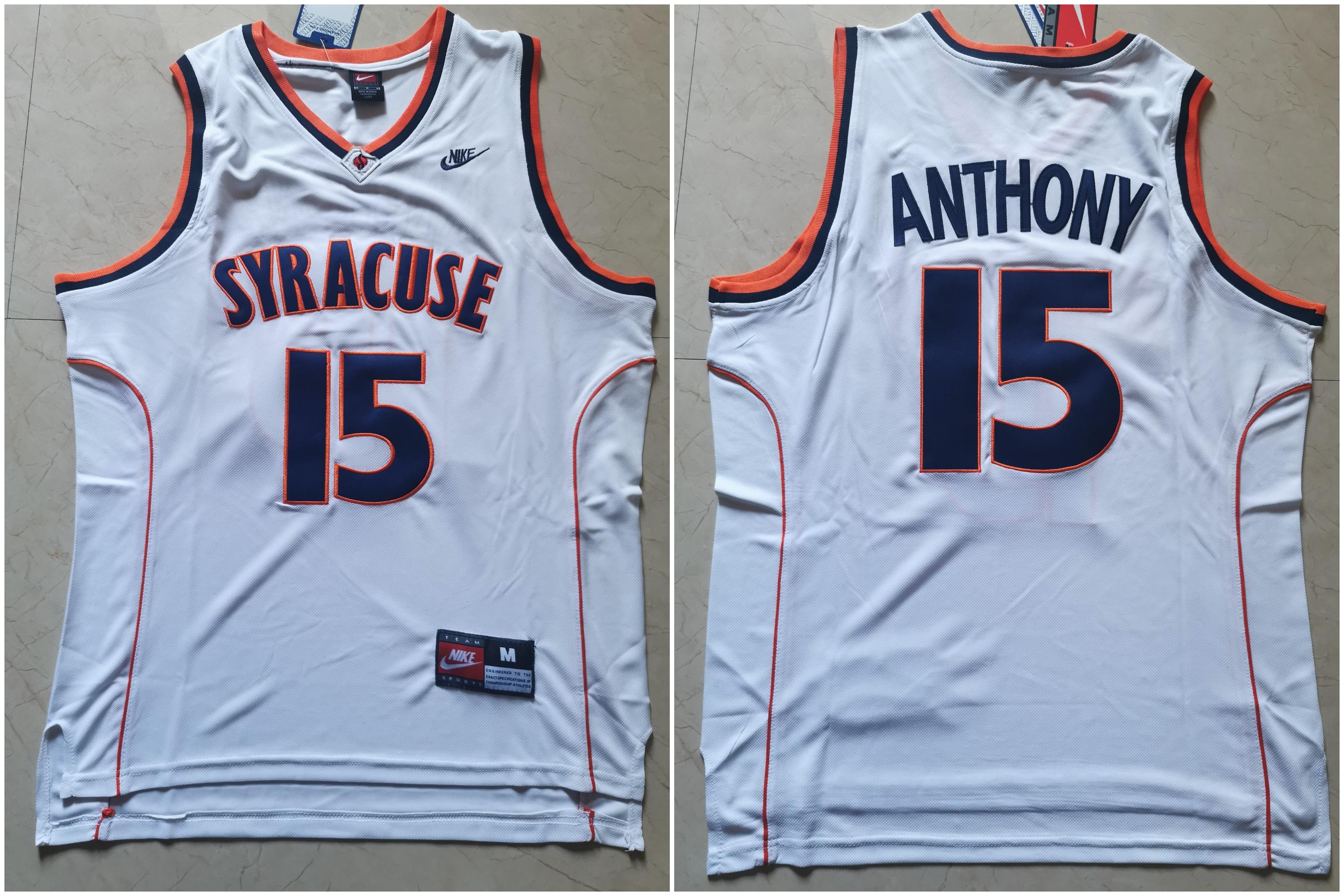Syracuse University 15 Carmelo Anthony White Nike Basketball College Jersey
