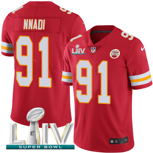Nike Chiefs 91 Derrick Nnadi Red 2020 Super Bowl LIV Vapor Untouchable Limited Jersey