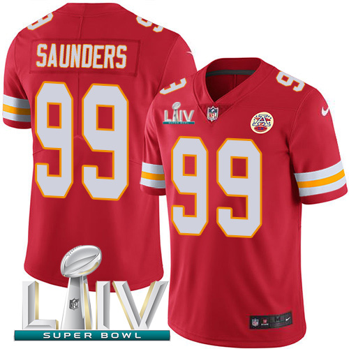 Nike Chiefs 99 Khalen Saunders Red 2020 Super Bowl LIV Vapor Untouchable Limited Jersey
