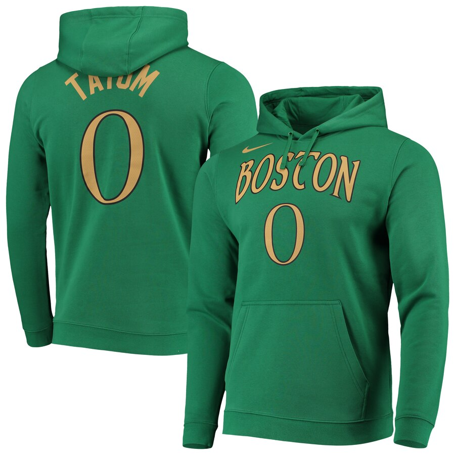 Boston Celtics 0 Jayson Tatum Nike 2019-20 City Edition Name & Number Team Pullover Hoodie Kelly Green