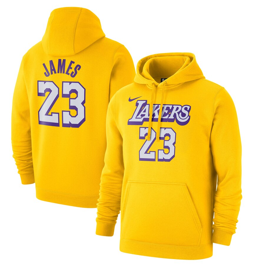 Los Angeles Lakers 23 LeBron James Nike 2019-20 City Edition Name & Number Pullover Hoodie Gold