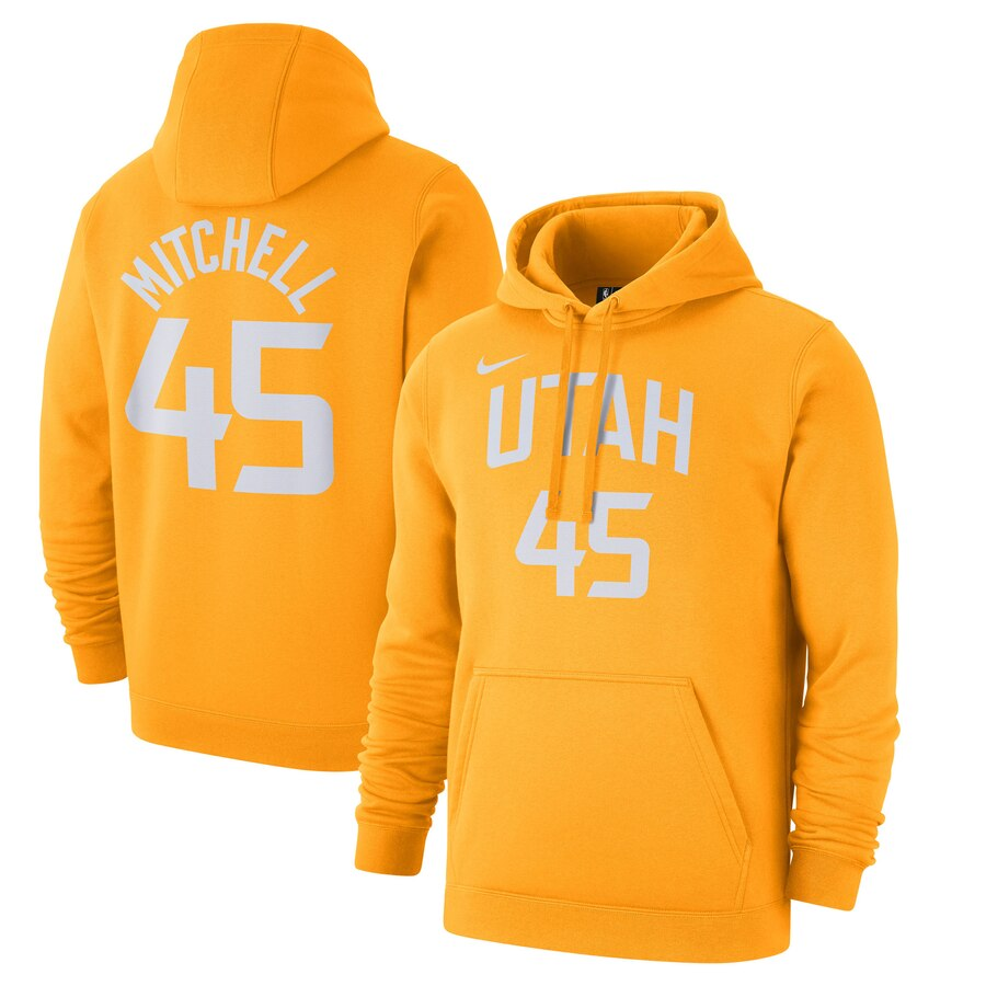 Utah Jazz 45 Donovan Mitchell Nike 2019-20 City Edition Name & Number Pullover Hoodie Gold