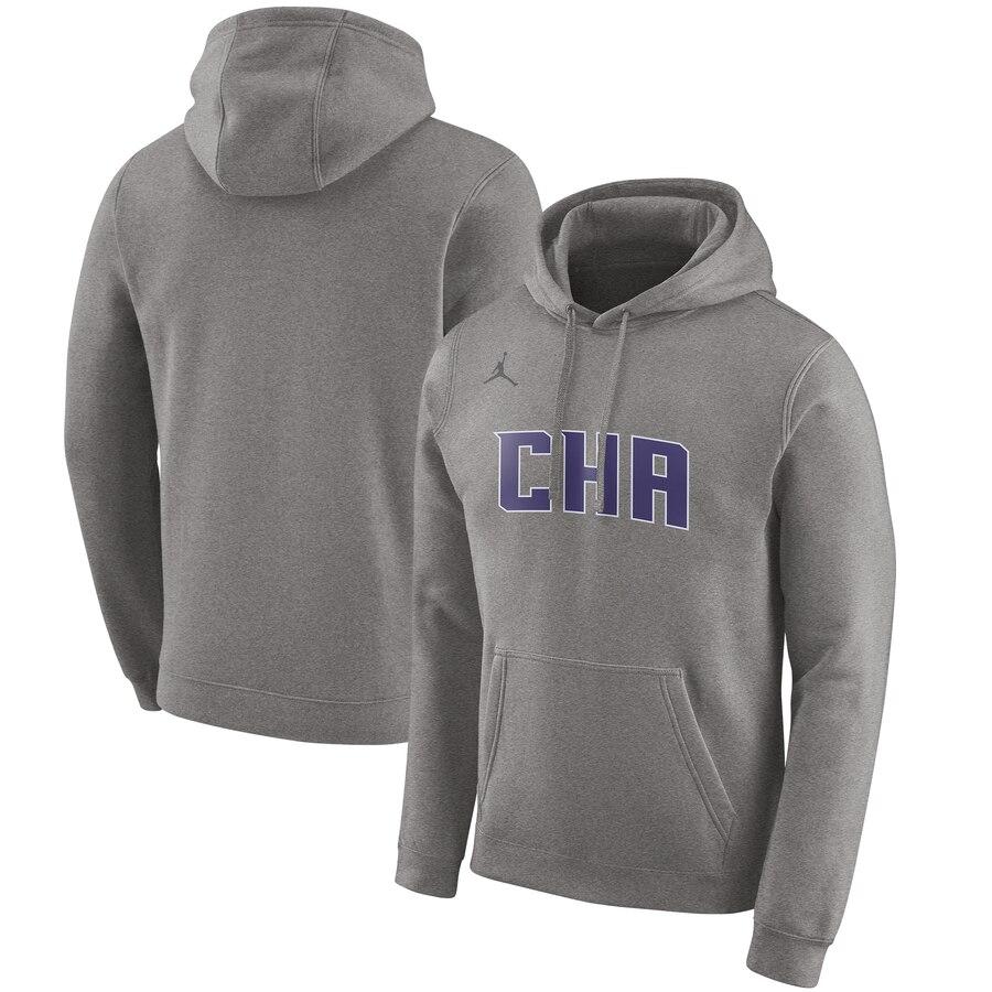 Charlotte Hornets Jordan Brand 2019-20 City Edition Club Pullover Hoodie Heather Gray