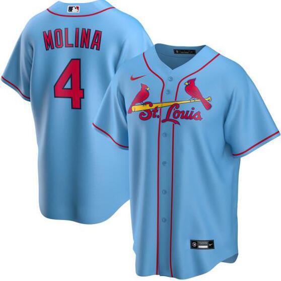 Cardinals 4 Yadier Molina Light Blue 2020 Nike Cool Base Jersey