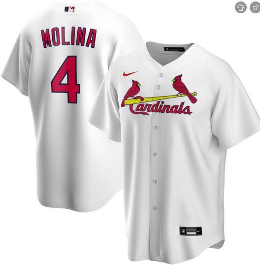 Cardinals 4 Yadier Molina White 2020 Nike Cool Base Jersey