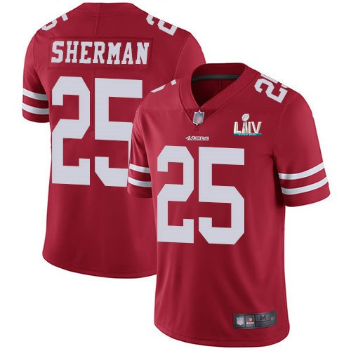Nike 49ers 25 Richard Sherman Red Youth 2020 Super Bowl LIV Vapor Untouchable Limited Jersey