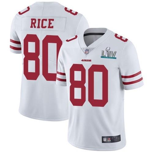 Nike 49ers 80 Jerry Rice White 2020 Super Bowl LIV Vapor Untouchable Limited Jersey
