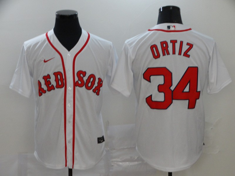 Red Sox 34 David Ortiz White 2020 Nike Cool Base Jersey