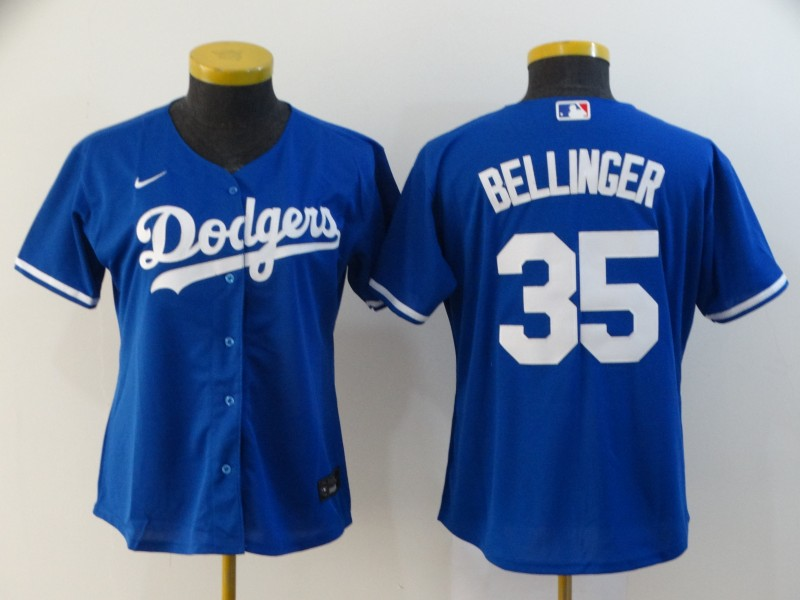 Dodgers 35 Cody Bellinger Royal Women 2020 Nike Cool Base Jersey