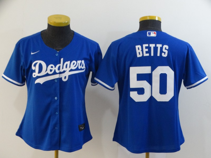Dodgers 50 Mookie Betts Royal Women 2020 Nike Cool Base Jersey