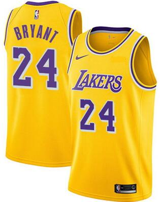 Lakers 24 Kobe Bryant Yellow Nike Swingman Jersey