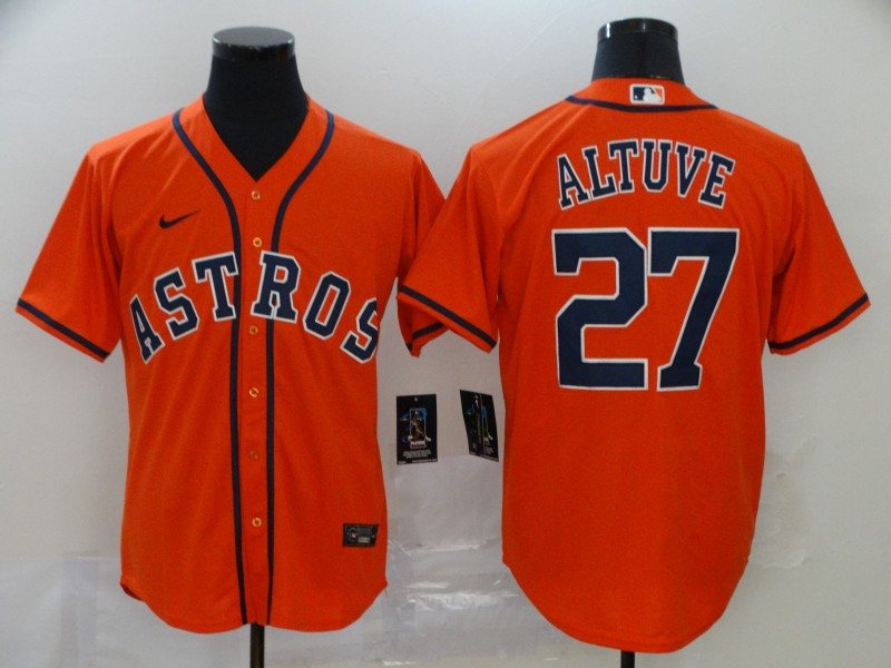 Astros 27 Jose Altuve Orange 2020 Nike Cool Base Jersey