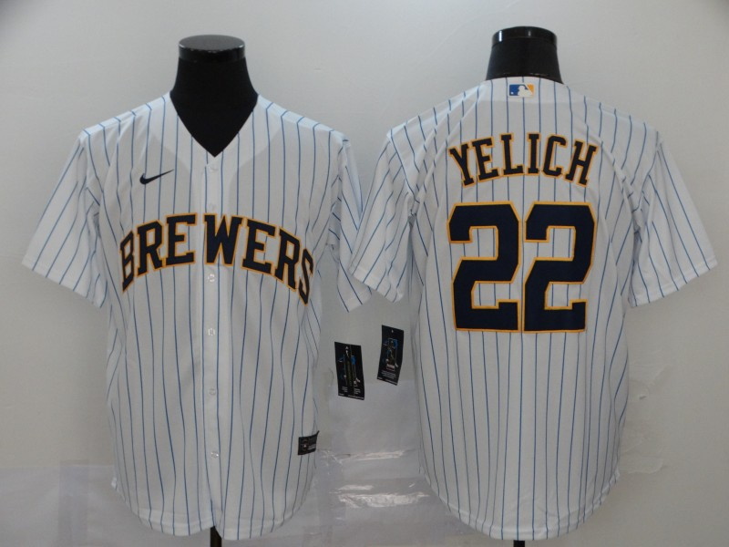 Brewers 22 Christian Yelich White Nike 2020 Cool Base Jersey
