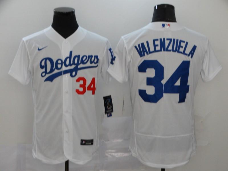 Dodgers 34 Fernando Valenzuela White 2020 Nike Flexbase Jersey