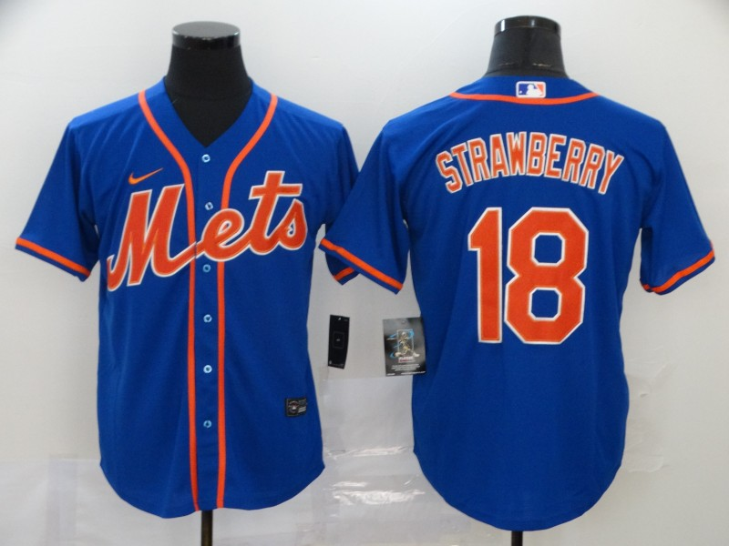 Mets 18 Darryl Strawberry Royal 2020 Nike Cool Base Jersey
