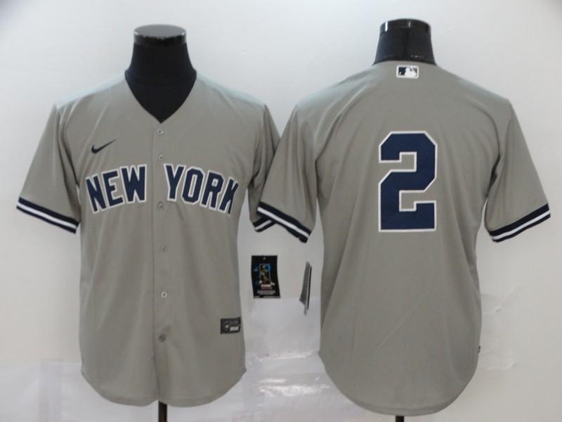 Yankees 2 Derek Jeter Gray 2020 Nike Cool Base Jersey