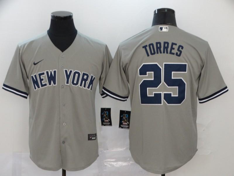 Yankees 25 Gleyber Torres Gray 2020 Nike Cool Base Jersey