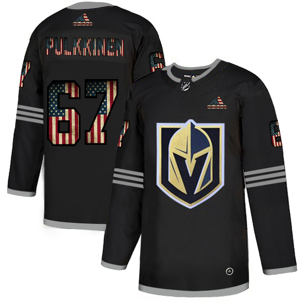 Vegas Golden Knights 67 Teemu Pulkkinen Black USA Flag Fashion Adidas Jersey