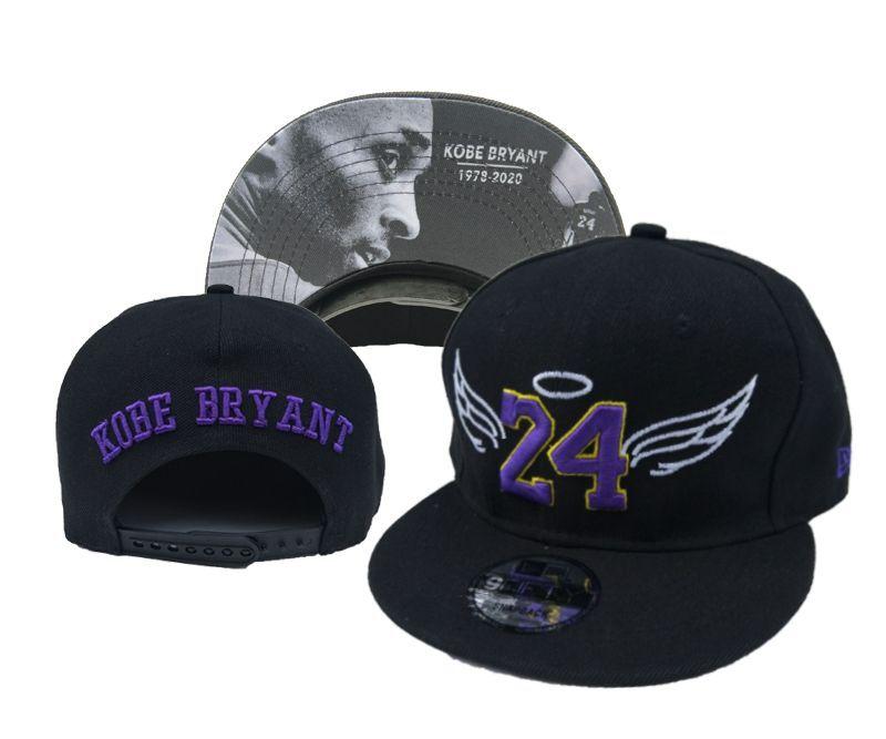 Lakers Team Logo 24 Kobe Bryant Black Adjustable Hat YD