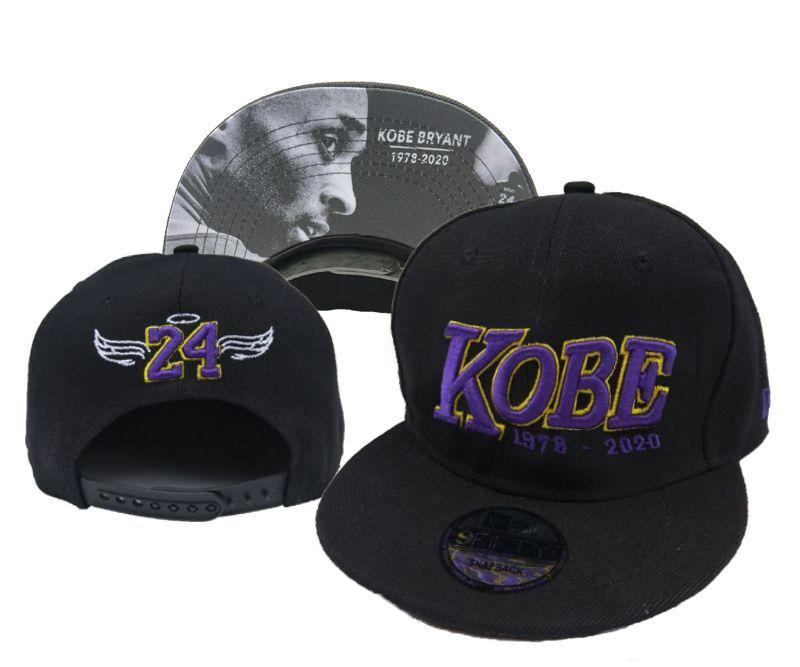 Lakers Team Logo 24 Kobe Bryant Black Fashion Adjustable Hat YD