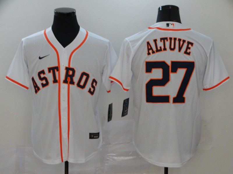 Astros 27 Jose Altuve White 2020 Nike Cool Base Jersey