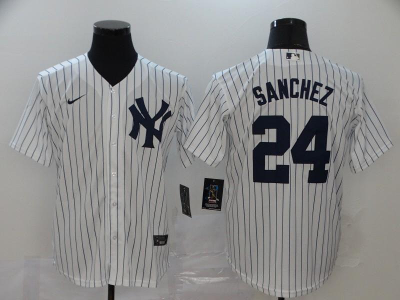 Yankees 24 Gary Sanchez White 2020 Nike Cool Base Jersey