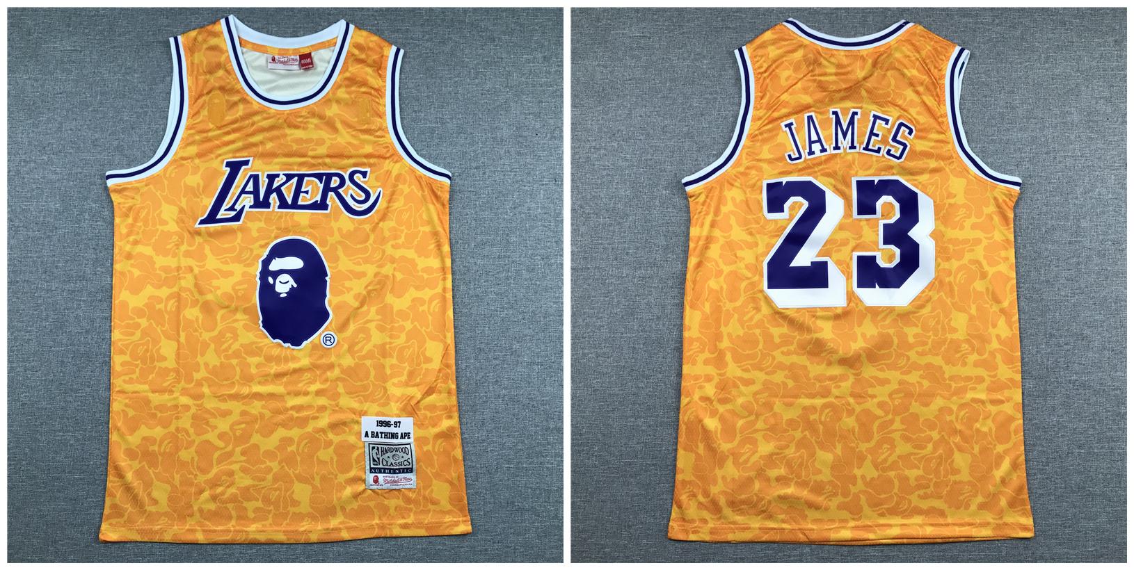 Bulls Bape 23 Michael Jordan Yellow 1996-97 Hardwood Classics Jersey