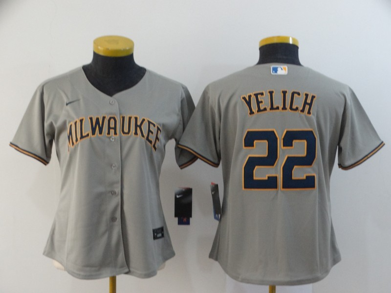 Brewers 22 Christian Yelich Gray Women Nike 2020 Cool Base Jersey