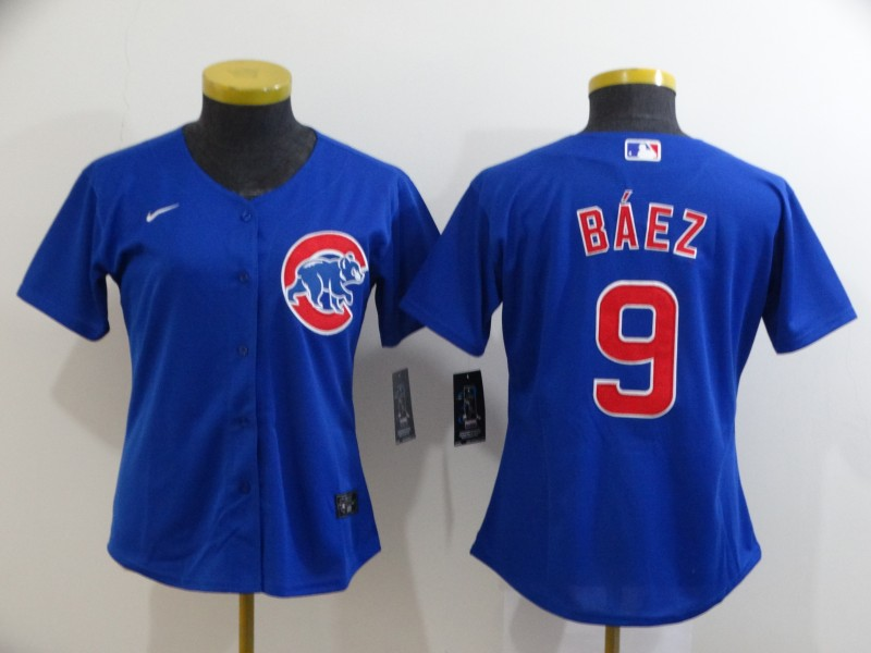 Cubs 9 Javier Baez Royal Women 2020 Nike Cool Base Jersey