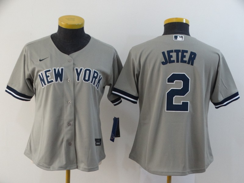 Yankees 2 Derek Jeter Gray Women 2020 Nike Cool Base Jersey