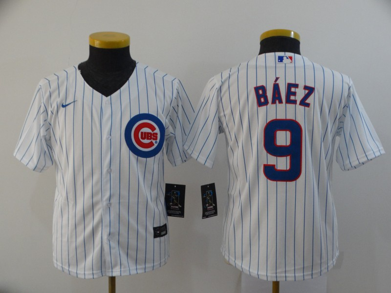 Cubs 9 Javier Baez White Youth 2020 Nike Cool Base Jersey