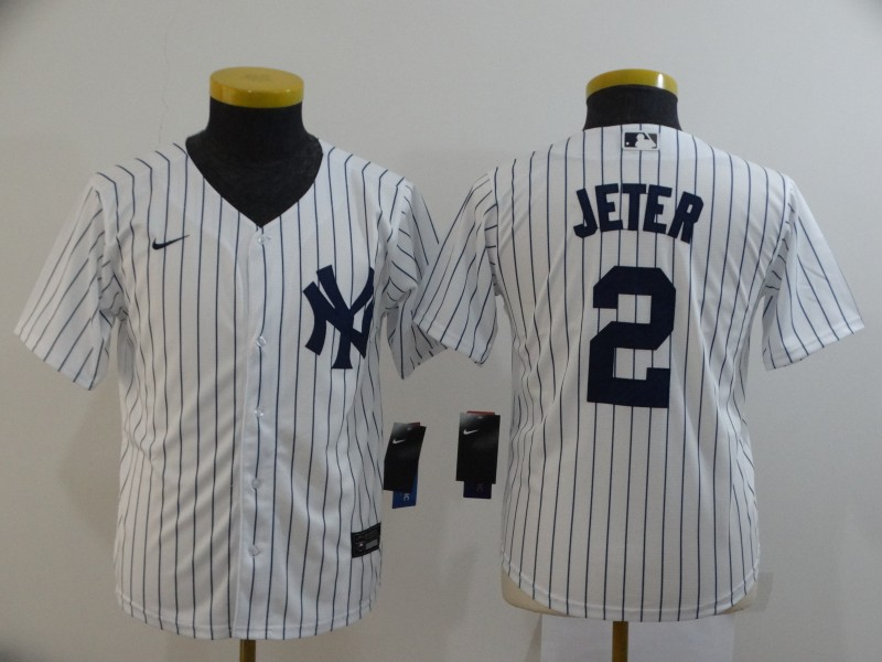 Yankees 2 Derek Jeter White Youth 2020 Nike Cool Base Jersey