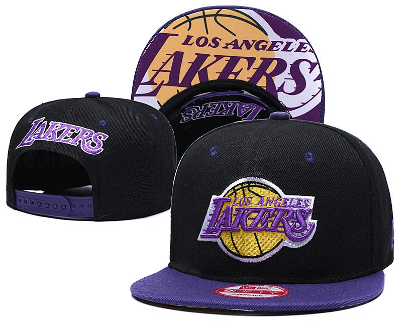 Lakers Team Logo Black Purple Adjustable Hat TX